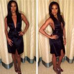 Gabrielle Union Wears $995 Jimmy Choo Maurice Sandals & A $495 Theyskens' Theory Derrie Deep-V Satin Dress