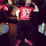 Juelz Santana Rocks A Dipset Harlem World Football Jersey Tee-Shirt & Nike Cortez Sneakers