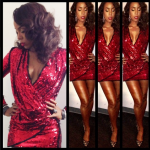 Kelly Rowland Looks Gorgeous In A Red Mini Dress From Balmain