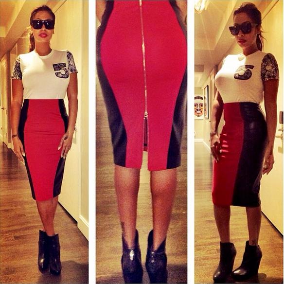 2daa5b86a8 lala5thandmercerredblackskirt. Media personality turned actress Lala  Anthony Instagram'd a photo of herself wearing a $120 5th & Mercer Pencil  Skirt ...