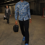 LeBron James Photo'd In Custom Splattered Balenciaga Arena Sneakers At The Staples Center