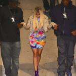 Nicki Minaj's Burberry Prorsum Leather Biker Jacket & $895 Giuseppe Zanotti Design Zip-Up Booties At Jay-Z's L.A. Concert