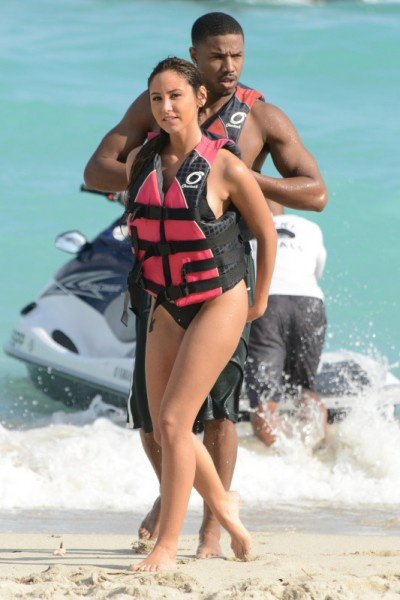 Michael B. Jordan and his rumored girlfriend rent a jetski in front of Fontainbleau Hotel in South Beach