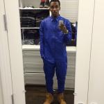 Get The Look: Brandon Jennings Wears A $1,275 En Noir Cobalt Button Up & $1,700 Pin Tuck Leather Sweatpants
