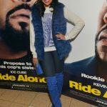 Monica's Royal Blue Ensemble At The 'Ride Along' Screening In Atlanta