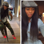 Yandy Smith Wears A Denim Shirt, Camo Pants & $1,295 Christian Louboutin Pigalle 100 Spiked Patent Leather Pumps