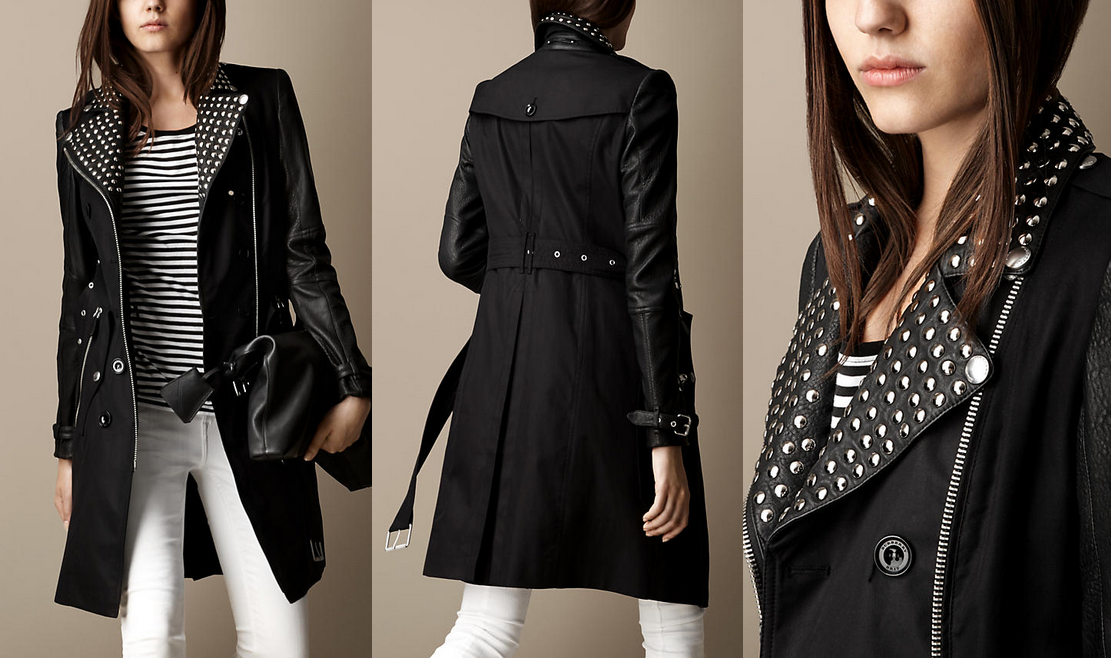 Burberry Trench Coat With Leather Sleeves - Tradingbasis