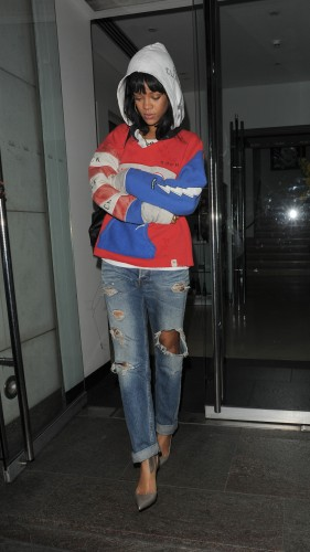 bb1ab288e0fe ... Rihanna Styles In Acne Studio Jeans   Christian Louboutin Pumps In  London Town