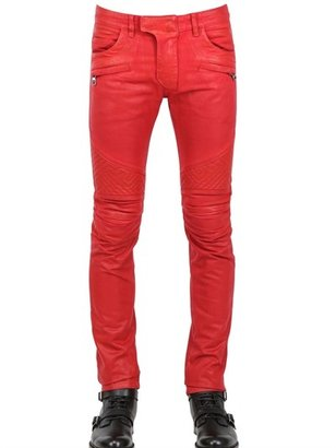 Balmain 18cm Geometric Waxed Denim Biker Jean