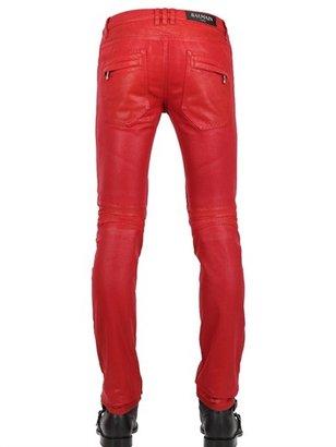 Balmain 18cm Geometric Waxed Denim Biker Jeans2