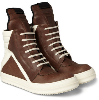 Rick Owens Panelled Leather High Top Sneakers1