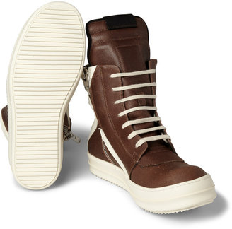 Rick Owens Panelled Leather High Top Sneakers3