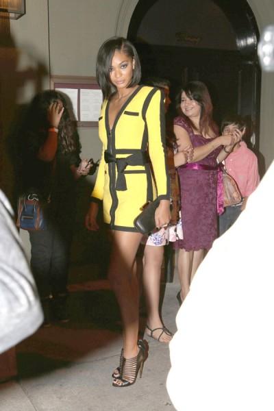 Victoria's Secret model Chanel Iman seen leaving Craig's Restaurant in West Hollywood