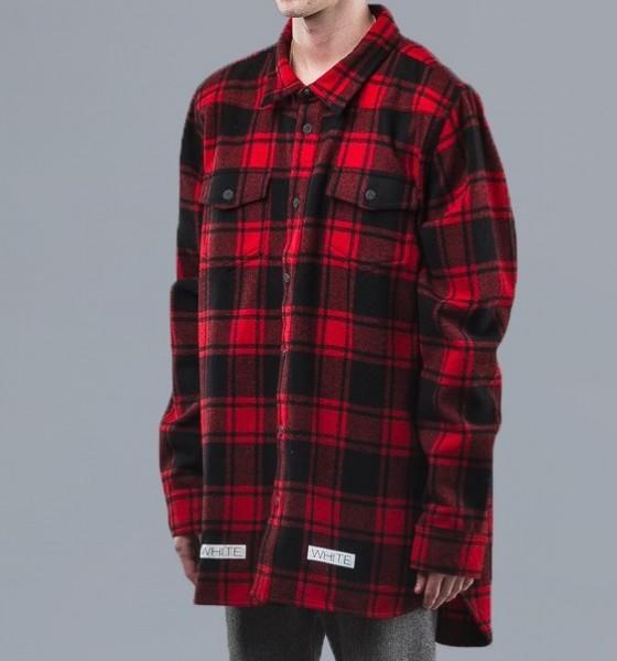 Off-White C O Virgil Abloh Red Plaid Shirt1