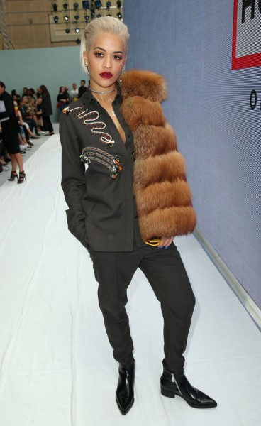 Rita Ora at the Hunter Original show during the London Fashion Week for Spring/Summer 2015 in London