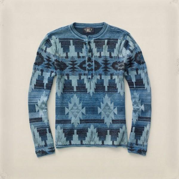 RRL-Ralph-Lauren-Indigo-Dyed-Henley-Shirt-Blue