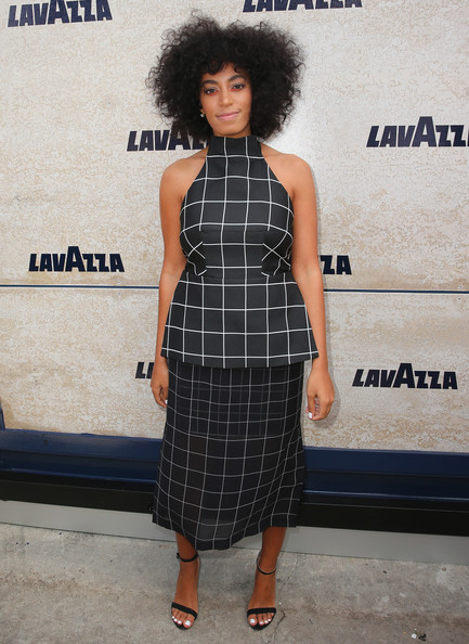 Solange Knowles Styles In An $1,245 Josh Goot 'Halter Grid Layered Halter Dress'2