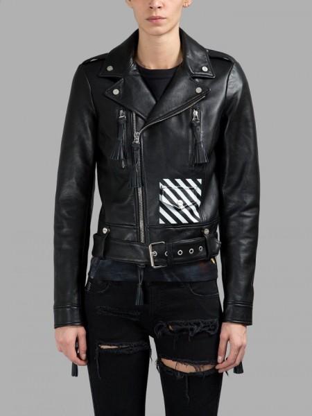 $2,268 Virgil Abloh Off White Fall 2015 Leather Biker Jacket3