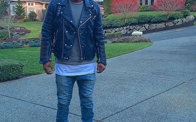 Nfl Style Kameron Chancellor Rocks A Navy Blue Leather Jacket And