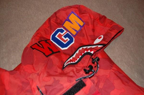 ce6c1fc7aac1d Meek Mill In A Bape A Bathing Ape Shark Snowboard Camo Red Jacket ...