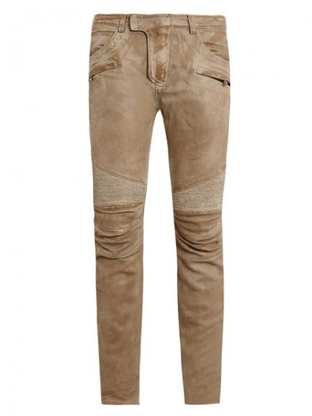 Balmain Beige Washed Leather Biker Trousers