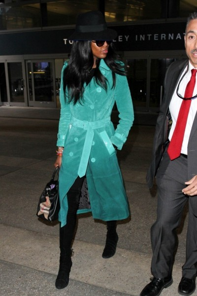 Naomi Campbell Burberry Prorsum Double Breasted Suede Trench Coat At LAX2
