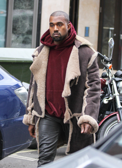Kanye West pictured leaving the Dover Street Market store, London, UK