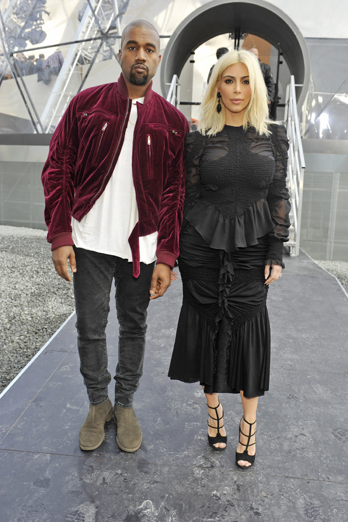 e0fd6f61f40f Front Row at Louis Vuitton RTW Fall 2015. Fashionable couple Kim Kardashian  ...