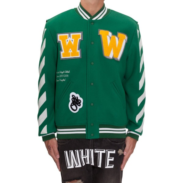 OFF-WHITE co VIRGIL ABLOH Letterman Jacket With Patches Green1