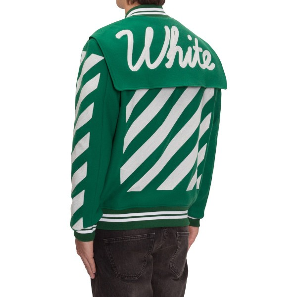 OFF-WHITE co VIRGIL ABLOH Letterman Jacket With Patches Green5