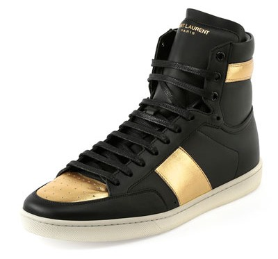 Saint Laurent SL 18H Leather High-Top Sneakers 1