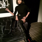 Ciara Wears A TopShop Dress & Christian Louboutin Thigh High Boots