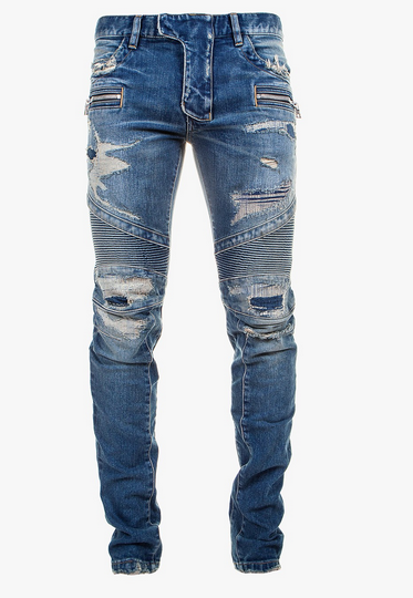 Balmain Slim-Fit Distressed Stretch Cotton Denim Biker Jeans1