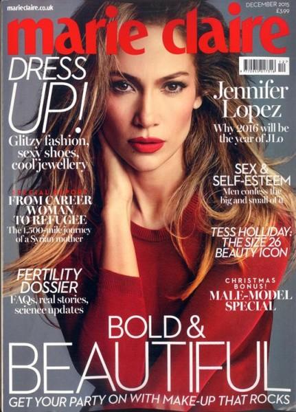 Jennifer Lopez For Marie Claire UK December 2015