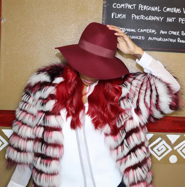 Monica Brown Wears A Helen Yarmak Fur Coat 1