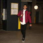 NBA Style: D'Angelo Russell Wears Jacket & Shirt By Vick Michel And Saint Laurent Contrast-Stripe Leather High Top Sneakers
