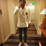 NBA Style: James Young In A Raf Simons Denim Shirt & Balmain Slim-Fit Distressed Stretch-Denim Biker Jeans