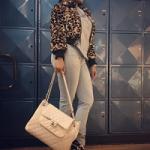Nicki Minaj Styles In A Marc Jacobs Printed Rabbit Fur Bomber, Giuseppe Zanotti Brown Leopard Booties & Chanel Bag