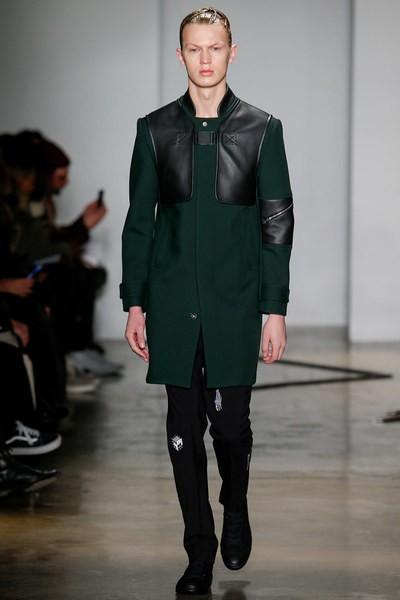 Tim Coppens Leather-Detailed Melton Coat1