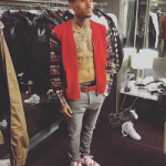 """Passion For Fashion: Chris Brown Wears A Dsquared2 Cotton Cardigan W/ Flannel Shirt Sleeves & Air Jordan 4 Retro """"Alternative 89"""""""