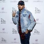Chris Brown Wears A Rabbit & Couth Distressed Denim Jacket At Drai's Las Vegas