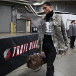 Jordan Clarkson Rocks An OFF-WHITE Spotted Check-Print Shirt