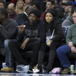 Meek Mill Sat Courtside At The Sixers Game In A HBA Swarovski Box Logo Hoodie