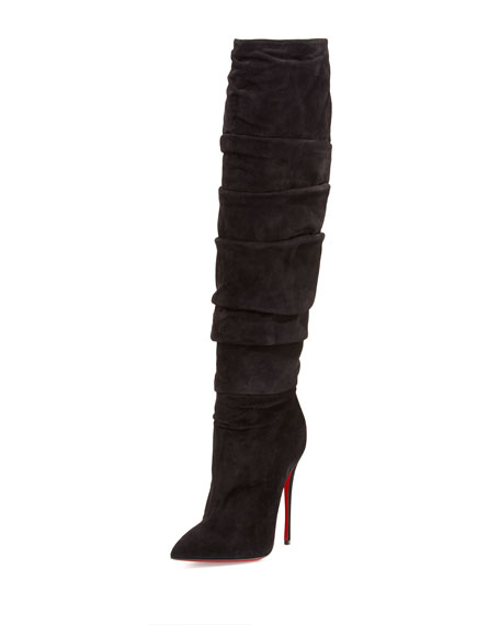 Christian Louboutin Ishtar Botta Ruched Suede Red Sole Boot1