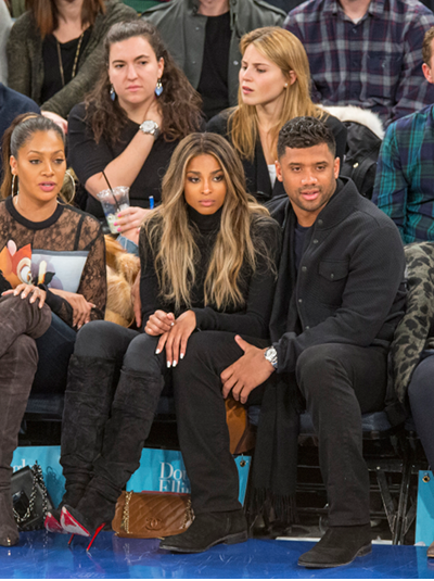 Ciara Sits Courtside At The Knicks Game In A Pair Of Christian Louboutin Ishtar Botta Ruched Suede Red Sole Boot6