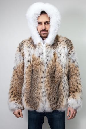Fur Cat Lynx Bomber Jacket With White Fox Trim & Hood1