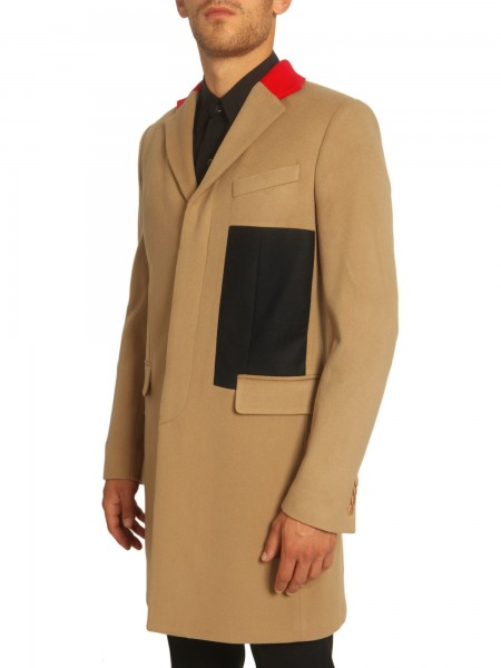 Givenchy Beige Contrast Collar Wool-Cashmere Coat1