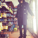 "Diggy Simmons Wears A Burberry Brit Short Duffle Coat, Acne Studios Jeans & ""Black"" adidas Originals x Yeezy Boost 750"