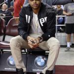 NBA Kicks: D'Angelo Russell Wears Saint Laurent Contrast-Stripe Leather High-Top Sneakers
