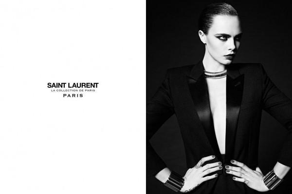 Cara Delevingne Fronts Hedi Slimane's Saint Laurent's 'La Collection de Paris' Ad Campaign 1